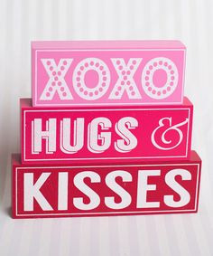 Look at this Pink & Red Valentine Sweetness Stacked Block Sign Set on #zulily today!