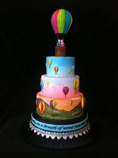 Hot air balloon wedding cake - For all you Airbrushing supplies, please visit http://www.craftcompany.co.uk/equipment/airbrushing.html