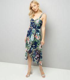 Mela Blue Floral Asymmetric Hem Dress
