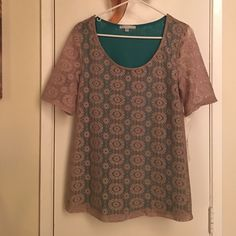 Annalee + Hope Lace Top Soft and stretchy fabric. Lace is lined. Scoop neck. 100% polyester. Made in USA. Tops Blouses