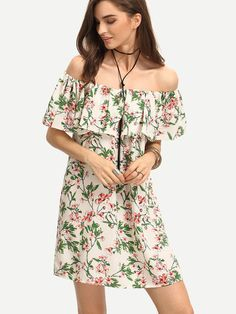 Ruffled Off-The-Shoulder Flower Print Dress. Sexy off the shoulder floral print dress for spring summer collection. Fabric :Fabric has no stretch Season :Summer Type :Tunic Pattern Type :Floral Sleeve