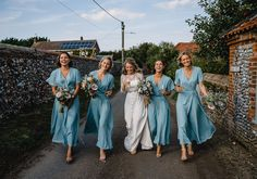 A-line V-neck Short Sleeves Ankle-length Simple Cheap Bridesmaid Dresses, True Style Never Dies Different Bridesmaid Dresses, Blue Bridesmaids, Wedding Bridesmaid Dresses, Bride Maid Dresses, Dresses Short, Wrap Dresses, Dress Images, Long Sleeve Wedding, Plus Size Wedding