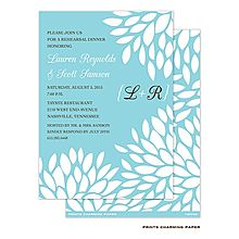Aqua Blue and White Floral Invitation