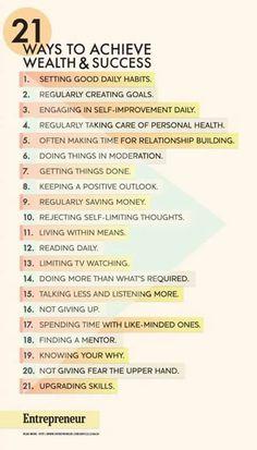 Entrepreneur mmagazine's 21 Ways to Achieve Wealth & Success
