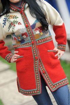 Верхняя одежда ручной работы. Ярмарка Мастеров - ручная работа. Купить Вязаное пальто W16. Handmade. Рисунок, вышивка