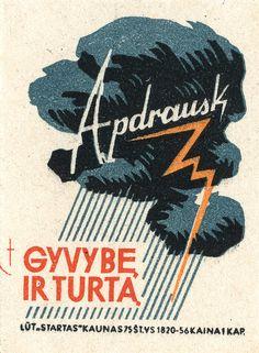 Vintage Lithuanian matchbox label