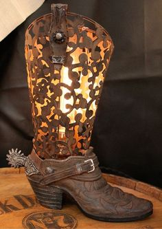 Vintage Cowboy Boot Lamp by Industrialighting on Etsy