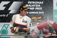 Sergio Perez Celebrates Place Finish at the 2012 Malaysian Grand Prix Sergio Perez, Yacht Cruises, Monaco Grand Prix, Flying Car, Luxury Yachts, Formula One, Le Mans, Jets, Captain Hat
