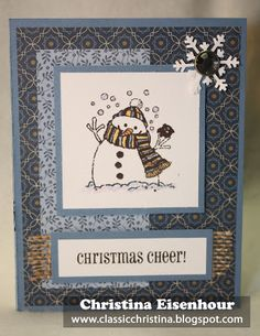 Snowman card using our Pemberley paper