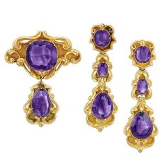 Antique Gold and Amethyst Brooch and Pair of Pendant-Earrings