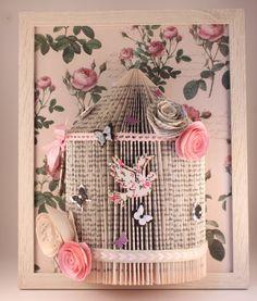 10)pink handmade shabby chic birdcage Origami book fold art framed 10 x 8