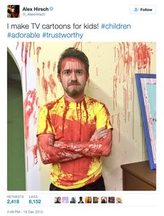 So Allie Goertz is making a Rick and Morty concept album and Alex Hirsch was on set dressed as Morty and covered in blood. (sources 1 + 2) <<< So that's what that's for! I KNEW IT!!!!