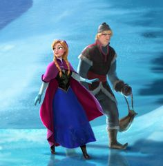 Close-up of Anna and Kristoff, the two main characters in Disney's Frozen. Yay!