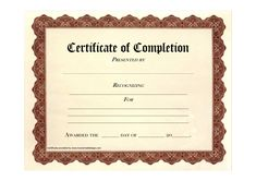 Formal Certificate of Completion Template Example with Editable Recipient and Date also Brown Background and Frame Pattern : Thogati