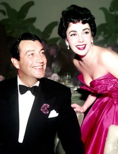 """"""" Robert Taylor and Elizabeth Taylor at the after party for Quo Vadis (1951) """""""