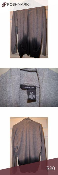 Two tone DKNY cardigan Two tone DKNY cardigan, Grey on top dark blue on bottom. Dkny Sweaters Cardigans