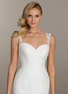 Ivory tulle trumpet bridal gown, sweetheart neckline, pleated elongated bodice with beaded lace applique, illusion straps with low keyhole back and chapel train Bridal Gowns from Lovelle By Lazaro - Bridal Style LL4501 by JLM Couture, Inc.