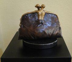 "Sculpture ""Purse Bronze Sculpture"" by Vladimir Kush..."