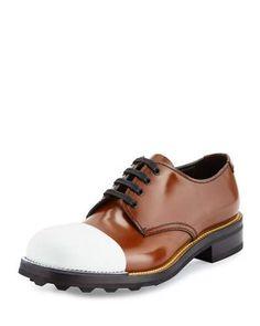 PRADA Cap-Toe Leather Oxford, Brown/White. #prada #shoes #