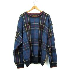 Preppy Plaid Sweater 90s Boyfriend Pullover Blue Green Pink 1990s Fall... ($28) ❤ liked on Polyvore featuring tops, sweaters, blue sweater, pullover sweaters, pink sweater, j crew boyfriend sweater and green crew neck sweater