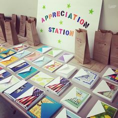 Set up an appreciation station and have kids write thank you cards to their teachers! School Staff, Back To School Teacher, Your Teacher, Teacher Gifts, Volunteer Appreciation, Teacher Appreciation Week, Volunteer Gifts, Staff Morale, Teacher Morale