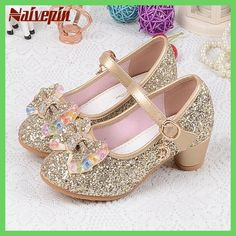 Children s Sequins Shoes Enfants 2018 Baby Girls Wedding Princess Kids High  Heels Dress Party Shoes For Girl Pink Blue Gold 49d383cdfee8