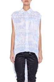 Sleeveless Swallow Tail Shirt White / Blue