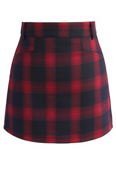 Classy Tartan Bud Skirt in Red - New Arrivals - Retro, Indie and Unique Fashion