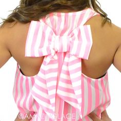 pink stripes bow back top