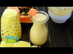 अनानास पपीता स्मूदीस् (Pineapple Papaya Smoothie/ Pineapple Papaya shake) by Tarla Dalal Recipe Videos, Food Videos, Papaya Smoothie, Non Alcoholic Drinks, Vegan Vegetarian, Shake, Pineapple, Recipies, Cancer
