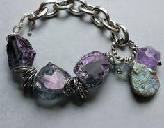 Chunky charm bracelet drusy bracelet charm by soulfuledges
