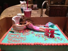 Drunk Barbie cake! OMG that's too funny! Maybe for my 34th
