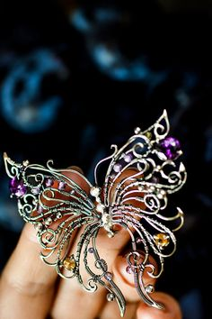 My lovely Butterfly - Sterling silver 925 cubic zirconia, amethyst citrine brooch - wire wrap woman gift jewelry