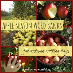 Apple-themed word banks for fun fall writing projects!
