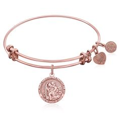 Expandable Bangle in Pink Tone Brass with St. Christopher Protection Symbol