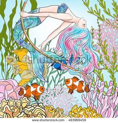 Hand drawn mermaid swinging on rope in underwater world. Linen color vector illustration.