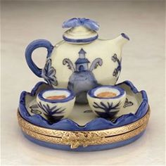 Limoges Blue and White Oriental Teapot on Tray Box The Cottage Shop
