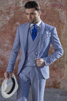 Abito da sposo  moda fashion  blu chiaro in tessuto pied de poule  modauomo 49939179579c