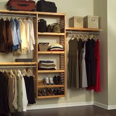 Create his and hers sections in your master suite walk-in or transform a spare closet into tidy extra storage with this organizing essential.  Product:  (3) 24 Shelves  (3) 72 Shelves  5 Wardrobe bars 9 Bar spacers 4 Angle brackets Assembly instructions All hardware and fasteners Construction Material: Wood and metalColor: Honey mapleFeatures:  Mix and match in any combinationFits closets up to 10 feet in width6 Integrated shelf tower Note: Assembly requiredShipping: