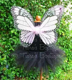 Toddler, Girls Halloween Costume - Sewn 11'' Black Pixie Tutu & Pink Monarch Butterfly Wings