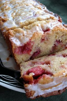 Strawberry Lemon Yogurt Cake this looks very moist and made in a simple loaf pan. How easy.