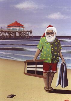 Beach Christmas Card Santa, looks like most SoCal piers, lol Ruby's at the end!