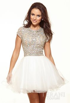 Dazzling short prom dress with silver beaded top with short sleeves and tulle white skirt 2014 by Terani