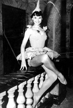 Audrey Hepburn photographed for the preview of Cecil Landeau's 'Sauce Piquante' at the Cambridge Theatre, April 17, 1950