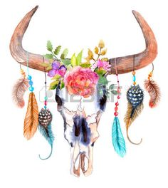 buffalo: Watercolor bull skull with flowers and feathers over white Illustration