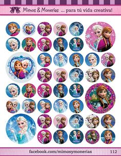 "Frozen Bottle Cap Images - 8.5"" x 11"" Digital Collage Sheet - 1"" Circles for Hair Bows"