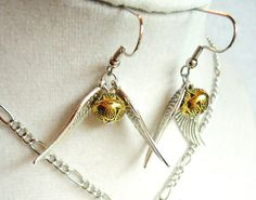 Harry Potter Golden Snitch Earrings Gold by ViperCoraraDesigns