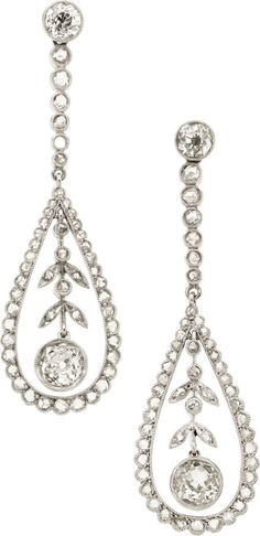 Diamond, Platinum Earrings  The earrings feature European, mine and rose-cut diamonds weighing a total of approximately 1.70 carats, set in platinum, completed by posts and friction backs