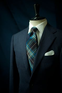 Ring Jacket 'Armoury' Model in Navy Flannel  Drake's London Handrolled Tartan Wool Tie