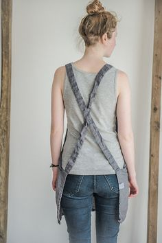 Grey short square cross linen apron/japanese by notPERFECTLINEN